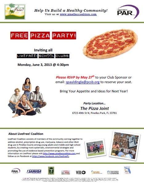 Club pizza party flyer